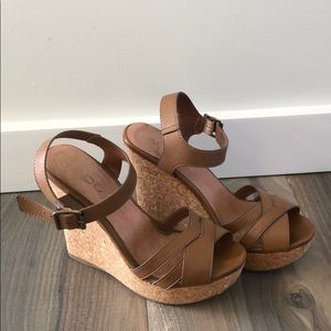 Tan leather and cork wedges